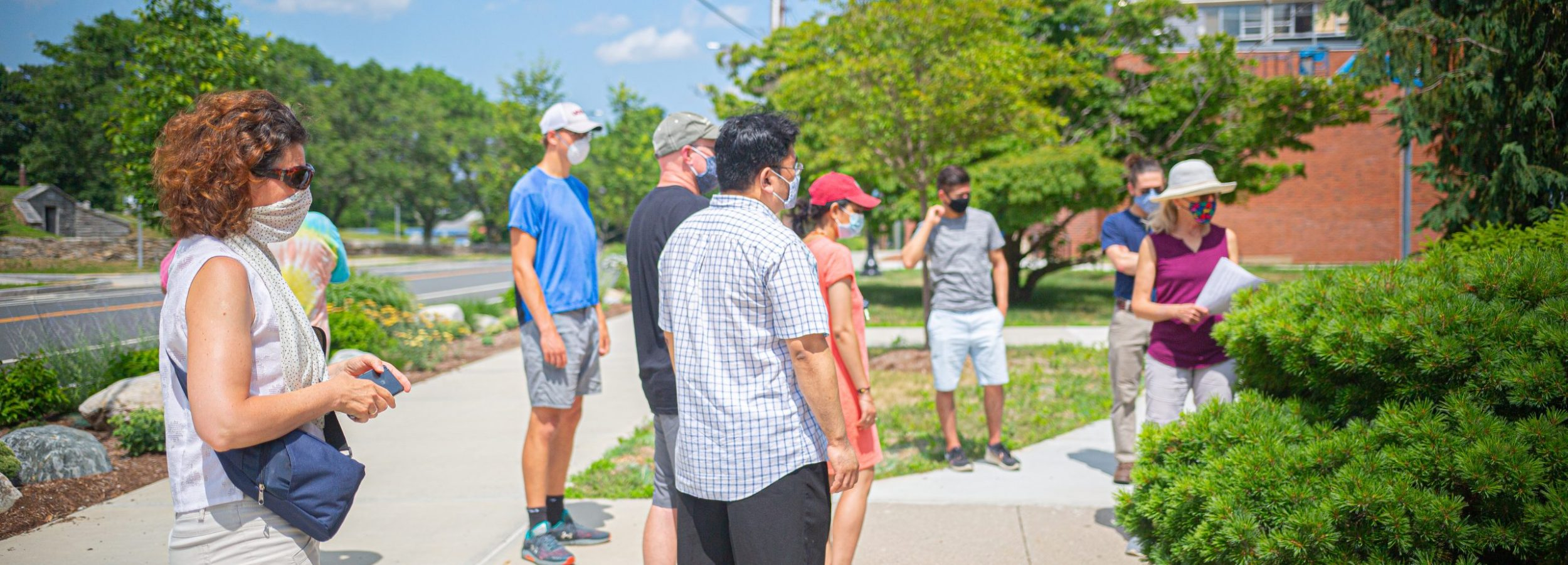 picture taken during in-person meeting, when the group walked around campus looking for inspiration.
