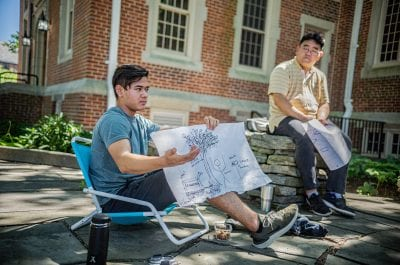 High-school student Kai explaining his STEAM Tree design ideas