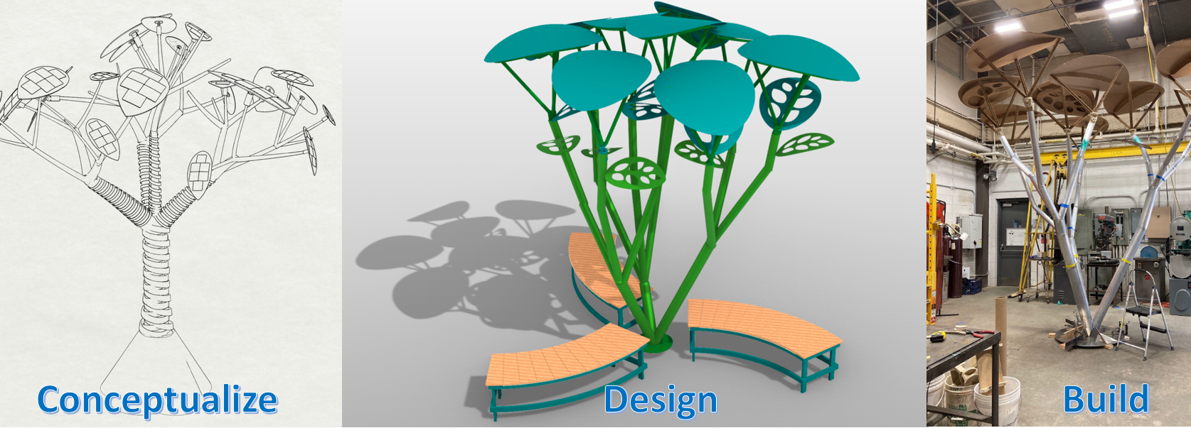 3 phases of Solart tree: Concept, Design, and Build