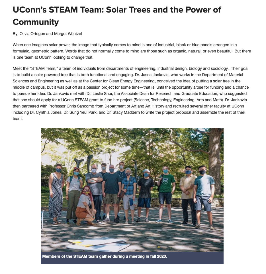 An article written about the STEAM Tree by a UConn Student