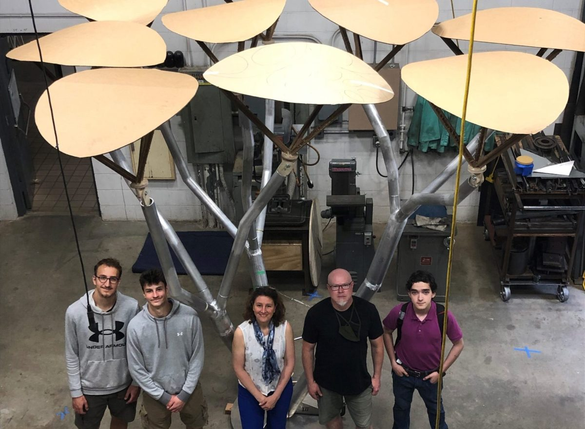 Professors with a variety of expertise, as well as college and high school students, are working on the solar tree. Credit: Lisa Prevost